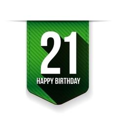 Twenty one years happy birthday ribbon vector image