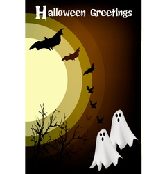 Two Happy Halloween Ghost on Night Background vector image
