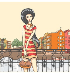 Urban panorama and pretty girl vector