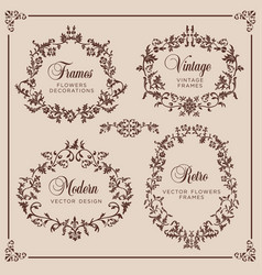 vintage set floral elements for design of vector image