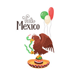 Viva mexico with eagle vector