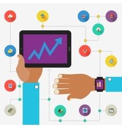 Wearable technology concept SEO monitoring app vector
