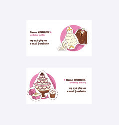 Wedding concept business cards outfits vector