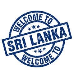 welcome to sri lanka blue stamp vector image