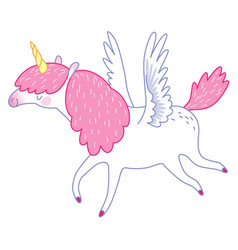 white flying unicorn vector image
