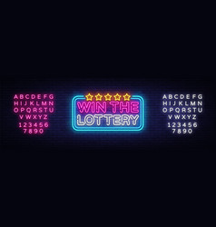 win the lottery neon text design template vector image