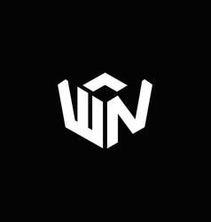wn logo monogram with emblem style ribbon design vector image