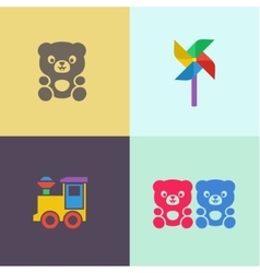 Children toy teddy bear and locomotive turntable vector image