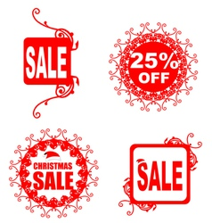 Christmas sale tag with floral pattern vector image vector image
