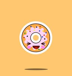 cute doughnut cartoon character happy smile kawaii vector image vector image