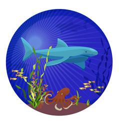 deep sea creatures big shark small fish and vector image vector image