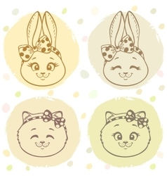 set bunny and cat vector image vector image