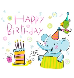 Birthday elephant and a parrot vector