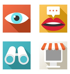 Flat design icon set Online shopping chat vector image