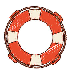 hand colored drawing of flotation hoop with rope vector image