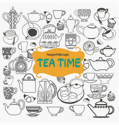 hand drawn set of tea objects on white background vector image vector image