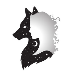 silhouette of beautiful woman with shadow of wolf vector image vector image
