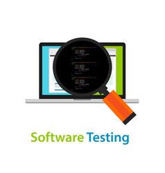 Software testing looking closer close-up to the vector