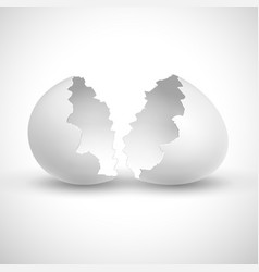white opened easter with shell broken isolated vector image