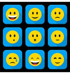 Yellow Smiling Faces Squared App Icon Set vector image