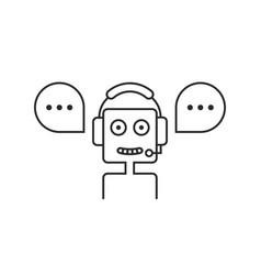 black thin line chatbot hotline service vector image vector image