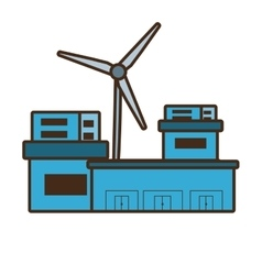 cartoon building factory wind turbine clean energy vector image