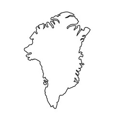 greenland map of black contour curves on white vector image