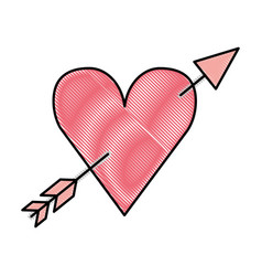 heart love with arrow romantic icon vector image