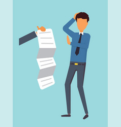man refuse to sign credit contract vector image