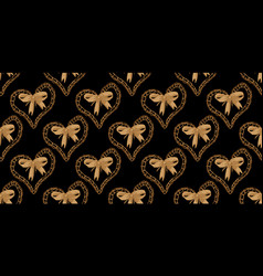 seamless pattern with heart and bow vector image vector image