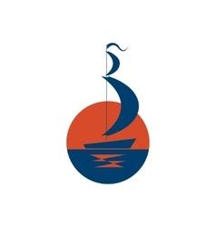 Ship logo sailboat icon on sea at sunset vector image