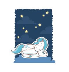 sleeping cute unicorn night background poster vector image