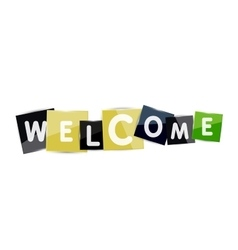 Welcome word with each letter on separate square vector image