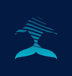 Blue whale strips logo sign on dark background vector