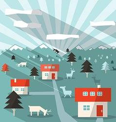 Landscape with Houses Deers Mountains and Forest vector image vector image
