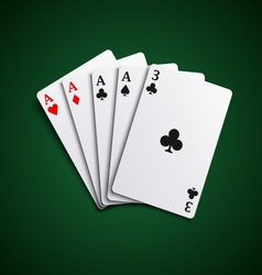 Poker hand cards four of a kind template vector