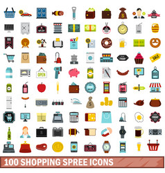 100 shopping spree icons set flat style vector image