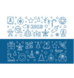 2019 new year set 2 blue outline banners vector image