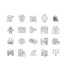 3d industry line icons signs set outline vector image