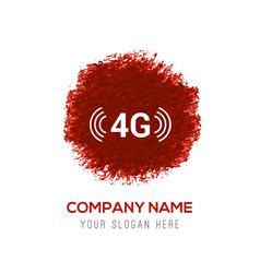 4g icon - red watercolor circle splash vector
