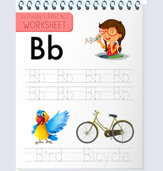 alphabet tracing worksheet with letter and vector image