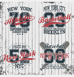 Athletic vintage t-shirt graphic designs set of vector