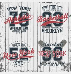 Athletic vintage t-shirt graphic designs set vector