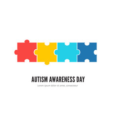 Autism awareness day concept with colorful puzzles vector