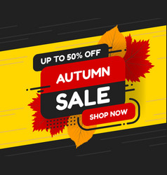 autumn sale banner design with discount label in vector image