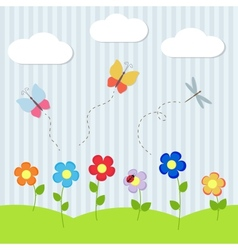 Background with flowers and flying dragonflies vector image