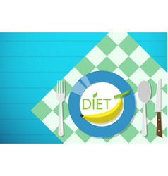banana on dish diet and health concept vector image