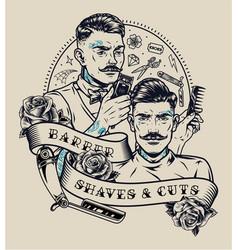 Barbershop vintage monochrome label vector