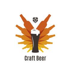 beer bottles logo glass on white background vector image