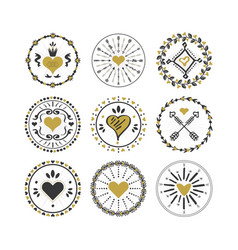 Black and golden circle hearts emblems and stamps vector